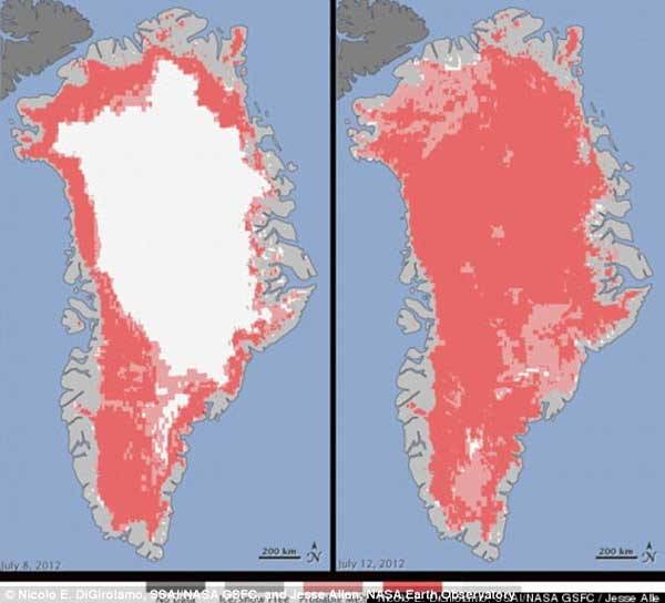 greenland surface melt 8th and 12th July 2012