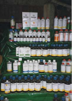 picture of agricultural chemicals in a shop in a Bolivian village