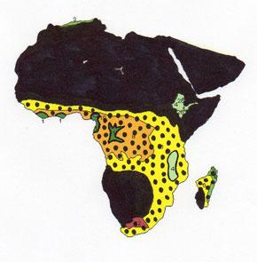 Africa glacial peak map