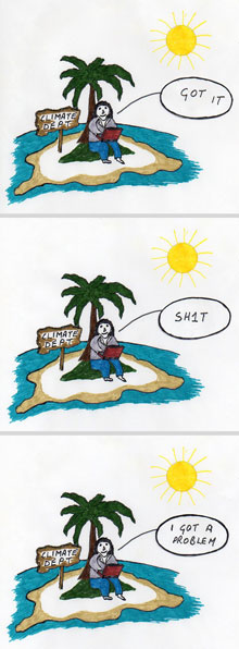 Man on an Island cartoon